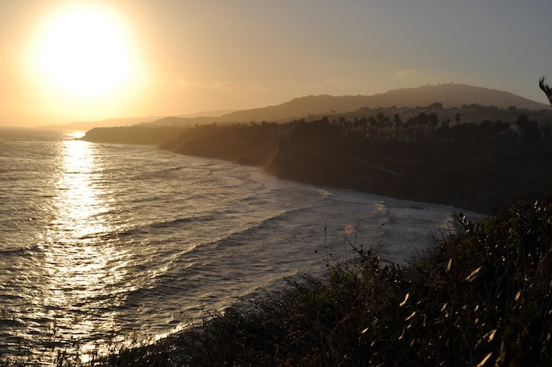 Sunset over Palos Verdes, as seen from Point Fermin Park.