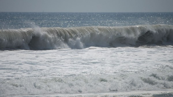 Heavy surf at Zuma Beach in Malibu, one of the south-facing beaches the National Weather Service said could see sets of waves up to eight feet.