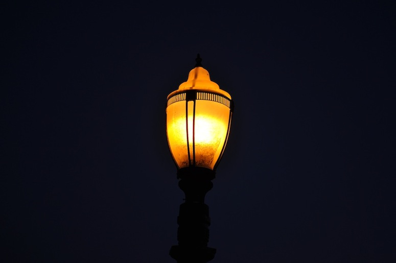 One of the lights along the path at Point Fermin Park.