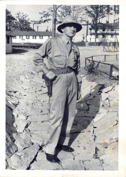 Saul Skolnick on sentry duty during World War II