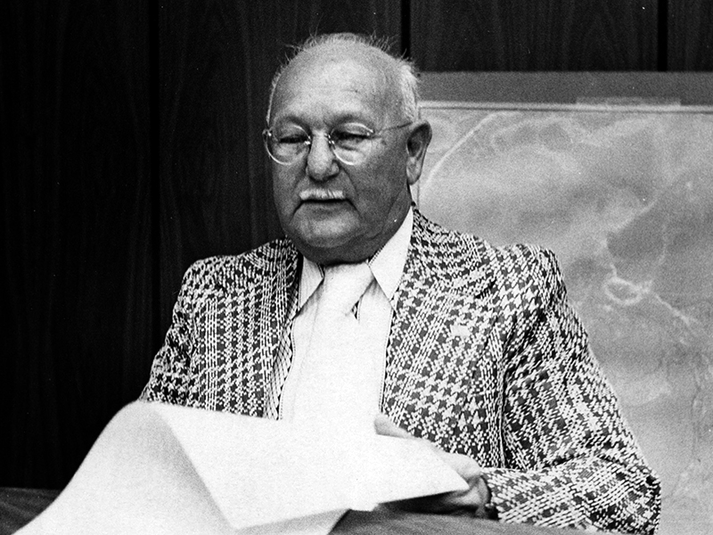 Henry E. Strauber in his seat in the board room of the Pasco County Commission. (Courtesy Clearwater Public Library.)
