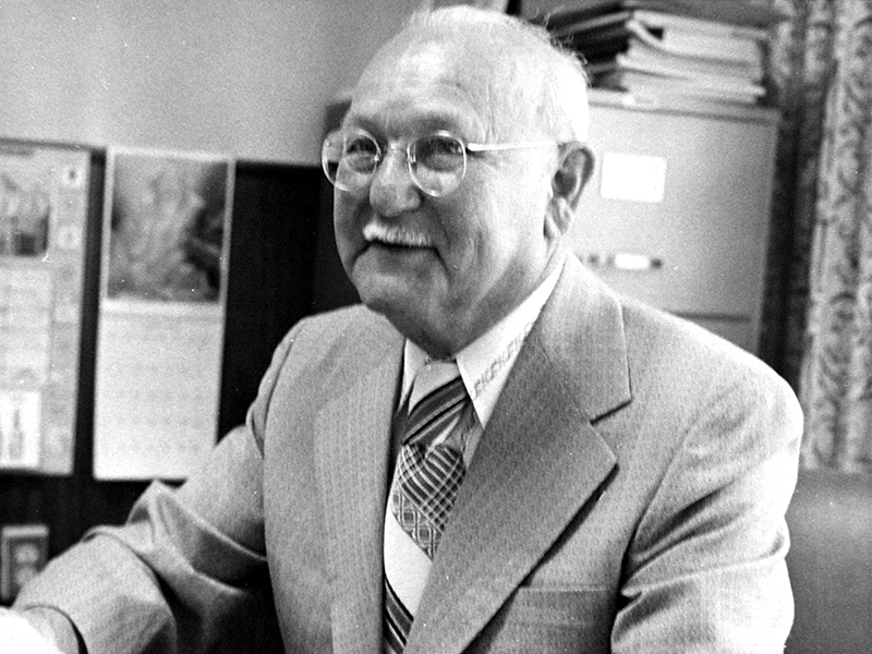 Henry E. Strauber in his office as a Pasco County Commissioner. (Courtesy Clearwater Public Library.)