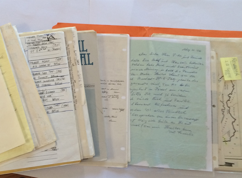The treasure trove of correspondence, documents, and notes that Vic Struber developed over decades of genealogical research.