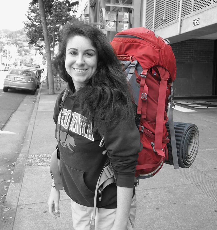 Rebecca after we parked the car and walked next door to the backpack trip rendezvous point in Berkeley.