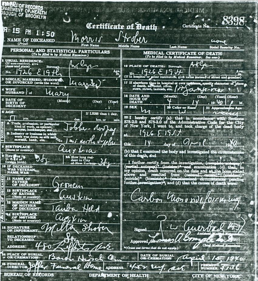 Death certificate of Morris Strober.