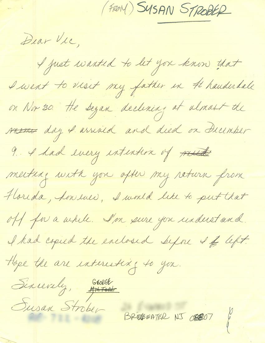 susan strober letter