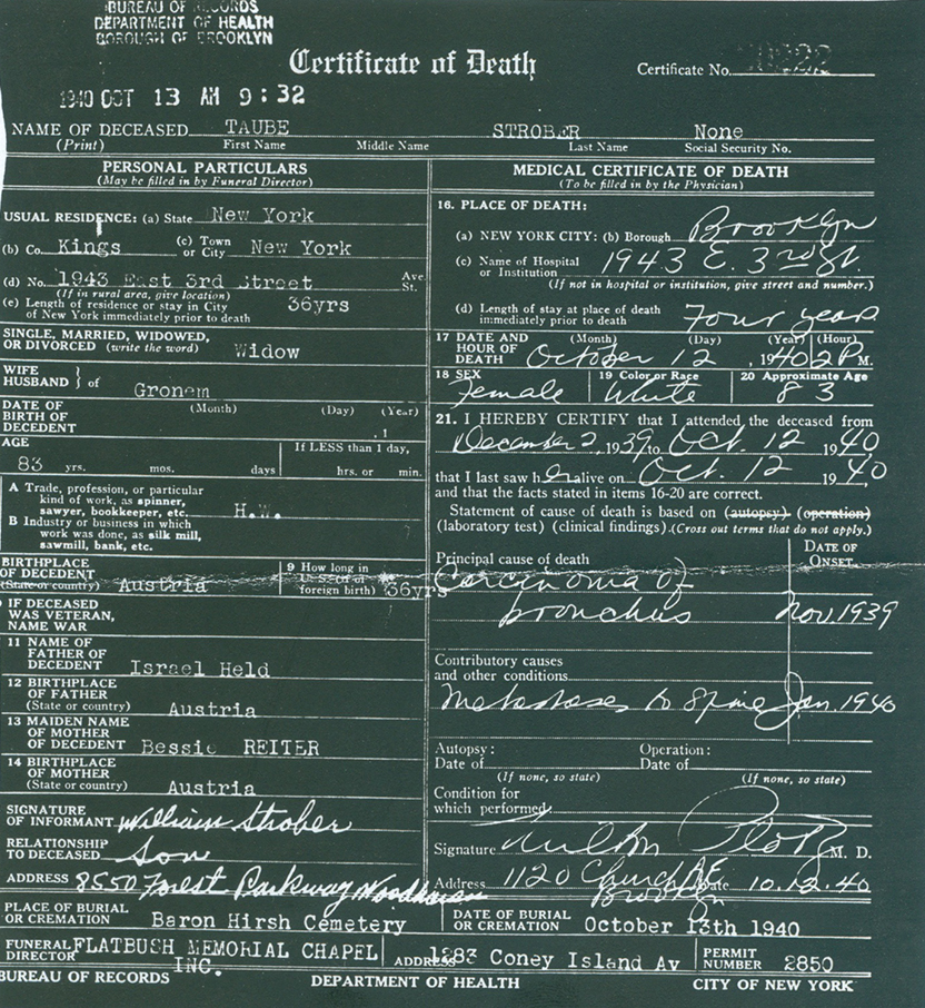 Death certificate of Taube (Held) Strober.