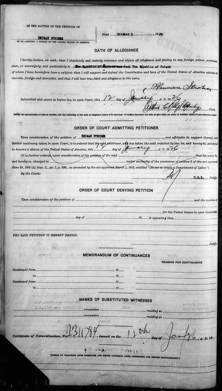 19260112 chaim heiman strober oath of allegiance