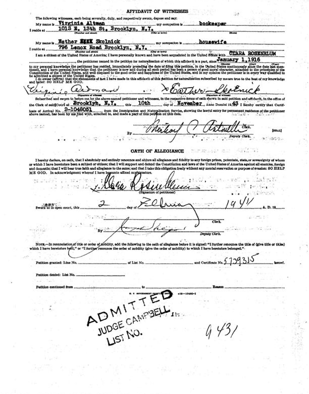 rosenblum clara affidavit of witnesses