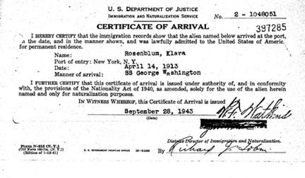 rosenblum klara cert of arrival 19430928