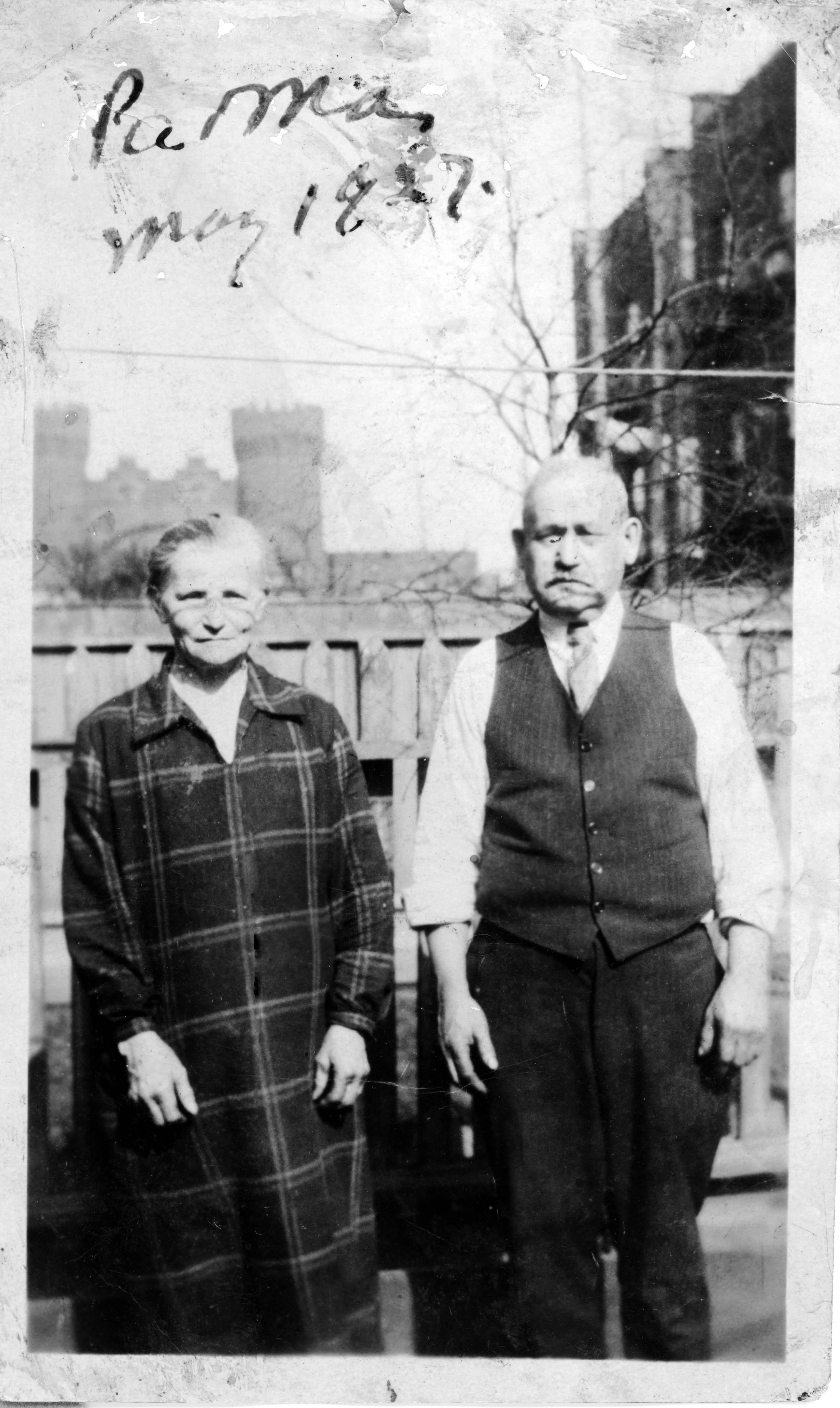 Israel (Sruel) and Milke (Weisler) Strober on rooftop, presumably in Brooklyn, NY, in 1927.