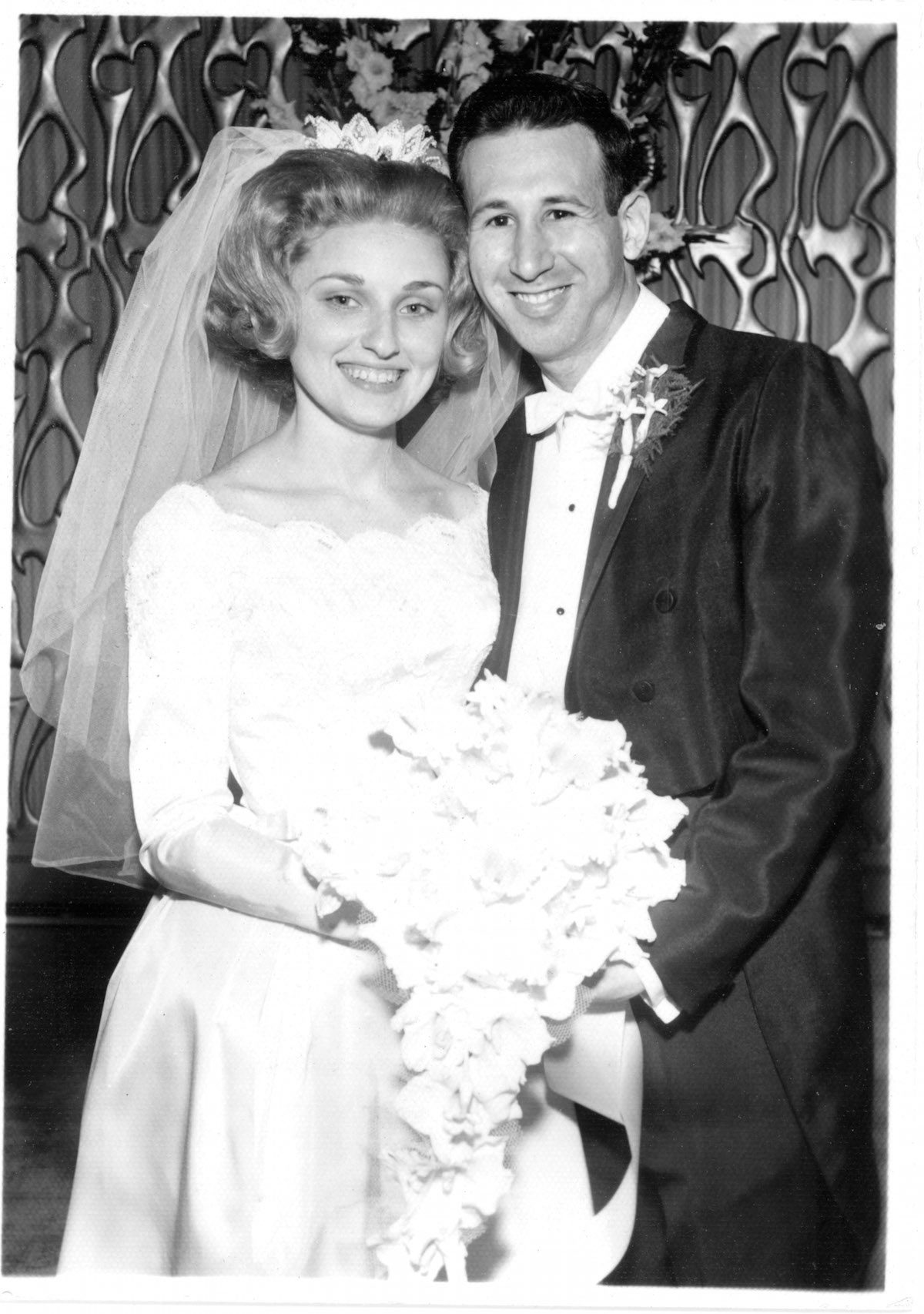 Wedding photo of Sharon and Gilbert Strauber, unknown time and place.