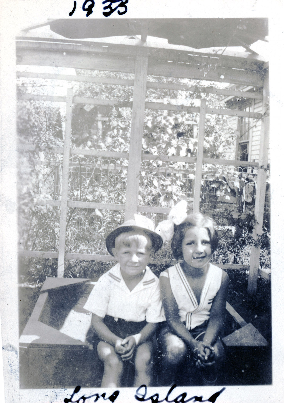 "First cousins Wallace ""Wally"" Dunckelman and Ruth Schekman in 1933 on Long Island."