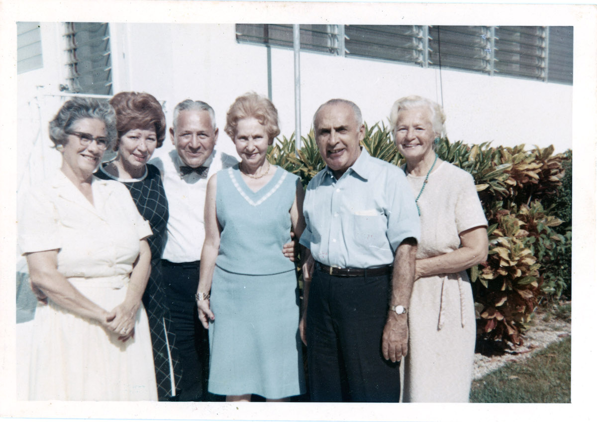 "SIBLINGS AND SPOUSES -- From left to right, unknown woman, unknown woman, Michael ""Mitch"" Strauber, Lenore ""Lee"" Strauber, Lay Leshaw, Ruth (Schekman) Leshaw."