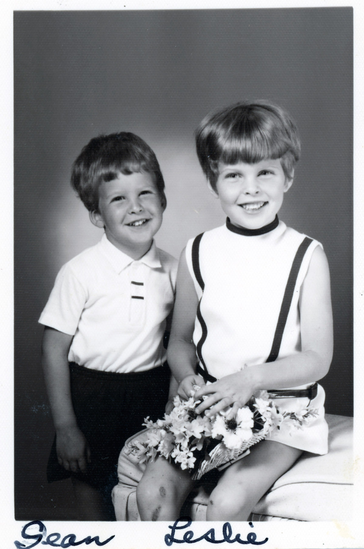 "Sean and Lesley Stout, grandchildren of Sylvia ""Kitty"" (Strauber) Dunckelman, probably in the mid-60s."