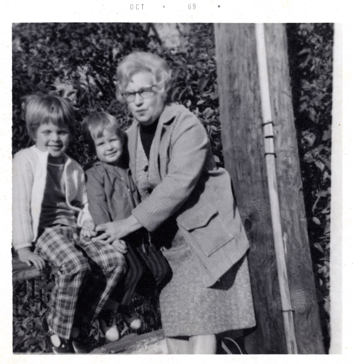 "Sean Stout and Leslie Stout with their grandmother, Sylvia ""Kitty"" (Strauber) Dunckelman in unknown location in October 1969."