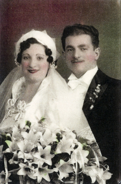 "Wedding portrait of Rose ""Rosie"" Strober (#872) and Abe Kugler (#873) in Brooklyn, NY, Dec. 5, 1936. (Collection of Arthur Einig)"