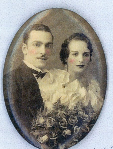 Formal wedding portrait of Frieda Strober and Ben Levine, presumably in late 1930s. (Collection of Arthur Einig)
